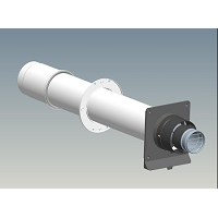 TERMINAL HORIZONTAL Ø  80/125 BLANC LG1000mm INOX/PVC