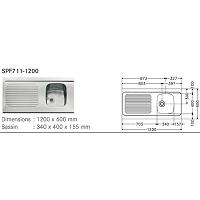 EVIER INOX SPOUT 1200 X 600 - 1 CUVE  SPF711-1200