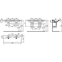 LAVABO CONNECT PLAN DOUBLE 130X49 BLC