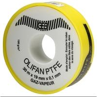 OLIFAN PTFE GAZ/VAPEUR 19 mm X 30 m X 0,1 mm cache jaune