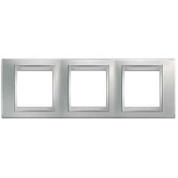 UNICA TOP PLAQUE 3x2MOD. HORIZ. CHROME SATINE ALU