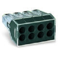Bte.de 50 BORNES P.BOITE DERIV.8x1 - 2,5mm² Rig. ou Semi-Rig.Transp