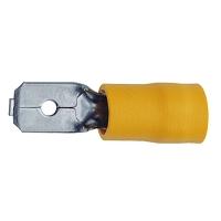SACHET 100 COSSES MALES JAUNES  4,0 à 6,0mm Larg.6,3mm  (850E)